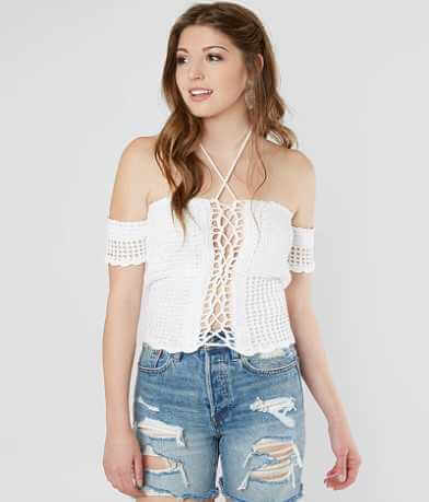 Gimmicks Cold Shoulder Cropped Halter Top