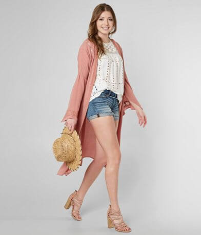 Gimmicks Pieced Lace Duster Cardigan