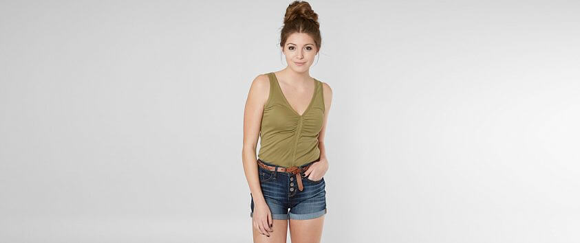 Gimmicks Shirred Tank Top front view