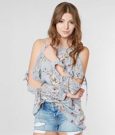 Gimmicks Cold Shoulder Floral Top