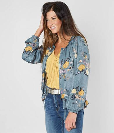 Gimmicks Floral Satin Bomber Jacket