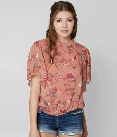 Gimmicks Floral Mock Neck Top