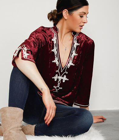 Gimmicks Embroidered Velvet Tunic Top