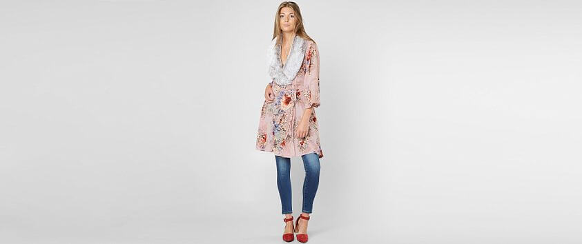 Gimmicks Floral Cut-Out Kimono front view