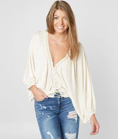 Gimmicks Oversized Dolman Lace-Up Top