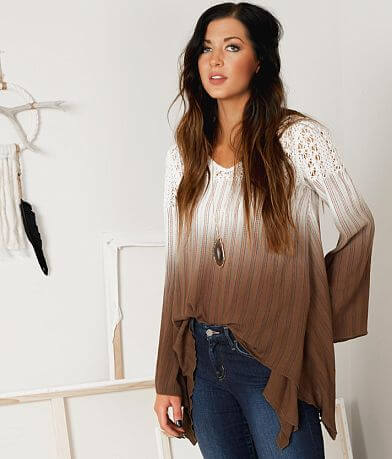 Gimmicks Striped Lace V-Neck Top