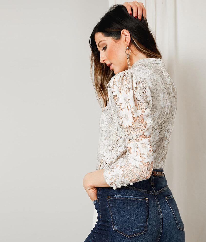 Gimmicks Floral Lace Overlay Top front view