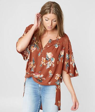 Gimmicks Oversized Floral Henley Top