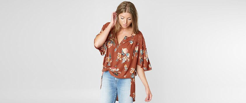 Gimmicks Oversized Floral Henley Top front view