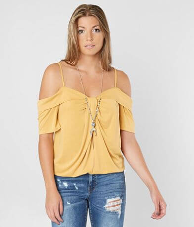 Gimmicks Cold Shoulder Twist Top