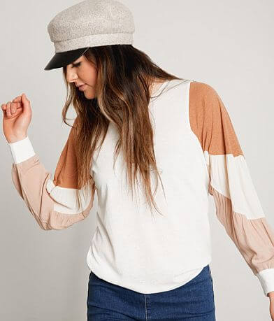 Gimmicks Color Block Sheer Knit Top