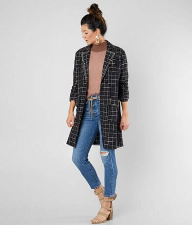 Gimmicks Collared Plaid Blazer