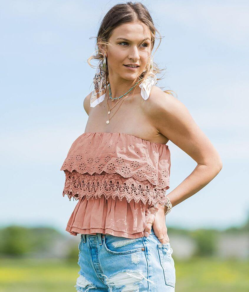 Gimmicks Washed Cold Shoulder Cropped Tank Top front view