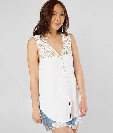 Gimmicks High Low Hem Button Down Tank Top