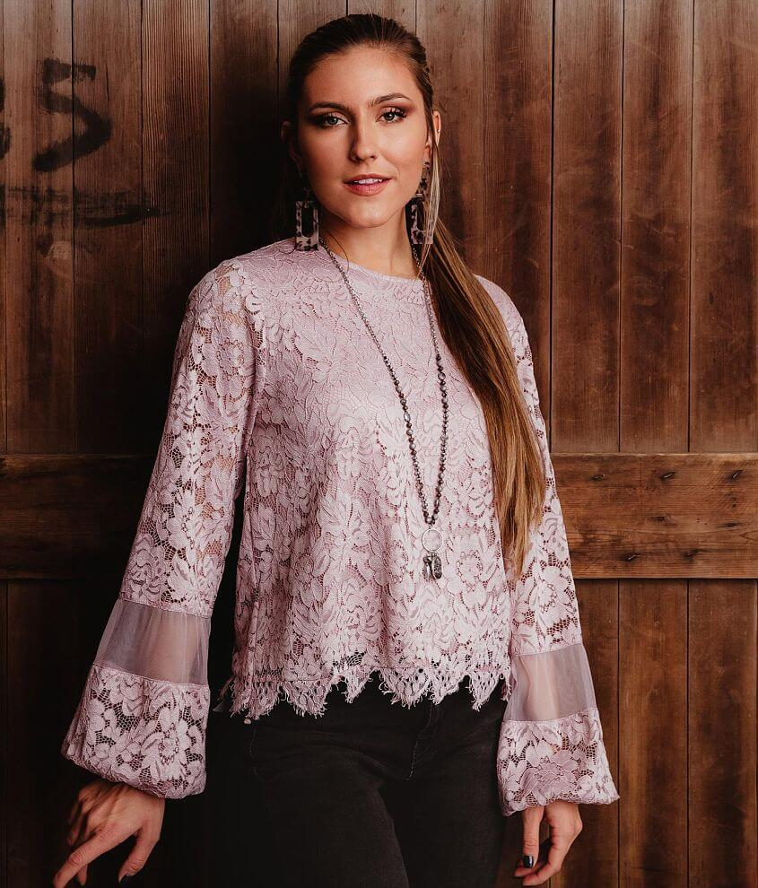 Gimmicks Lace Crochet Blouse front view