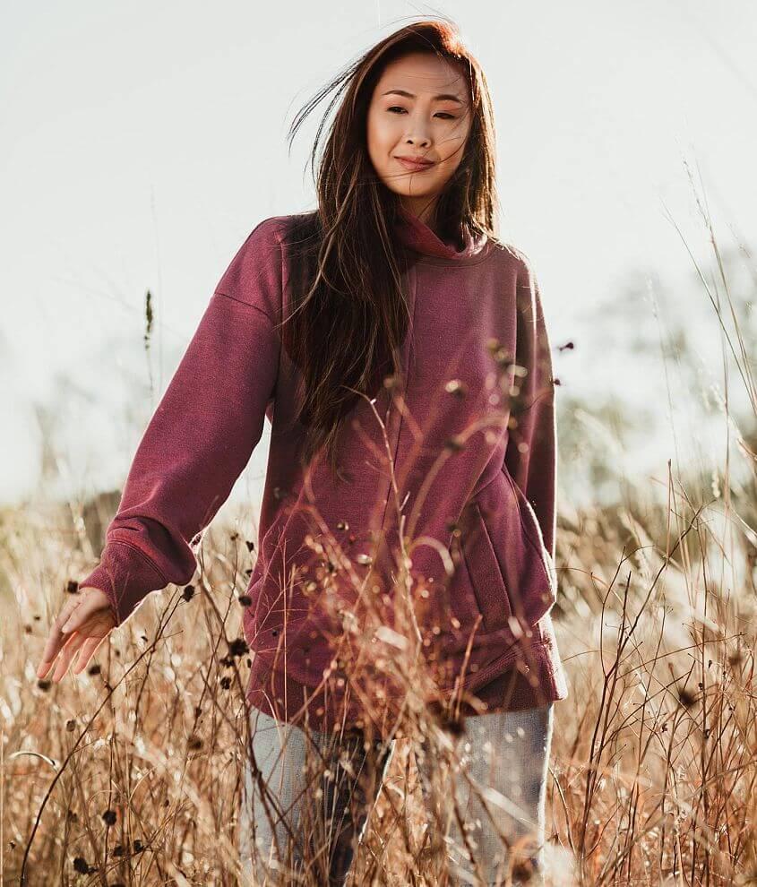 Gimmicks Heathered Cowl Neck Tunic Sweatshirt front view