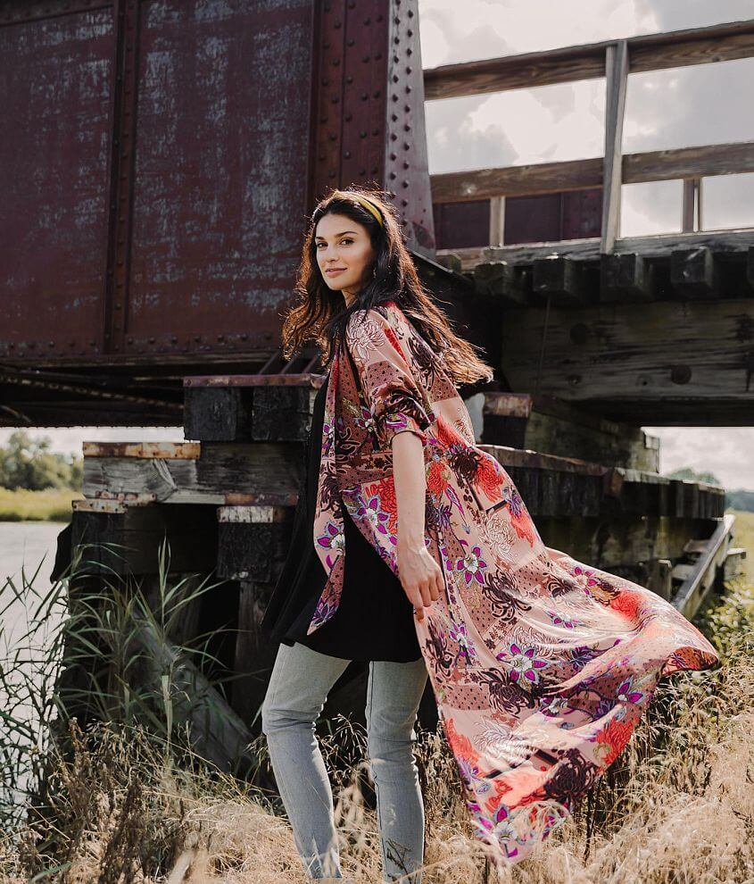 Gimmicks Satin Duster Kimono front view