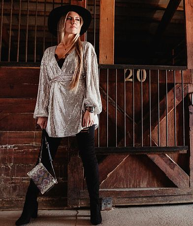 Gimmicks Sequin Tunic Wrap Top