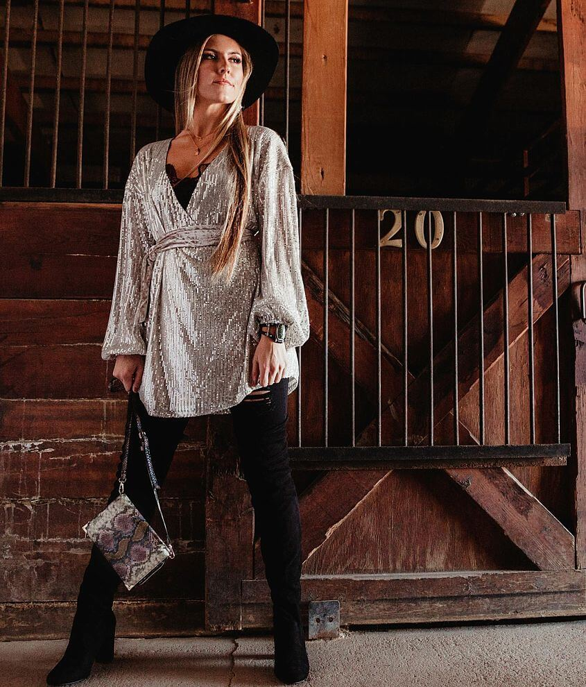 Gimmicks Sequin Tunic Wrap Top front view