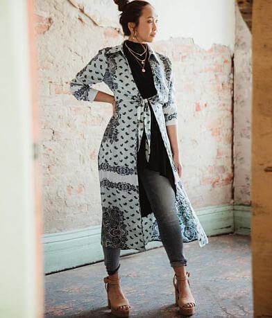 Gimmicks Satin Paisley Medallion Duster Kimono