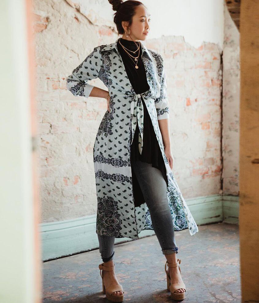 Gimmicks Satin Paisley Medallion Duster Kimono front view