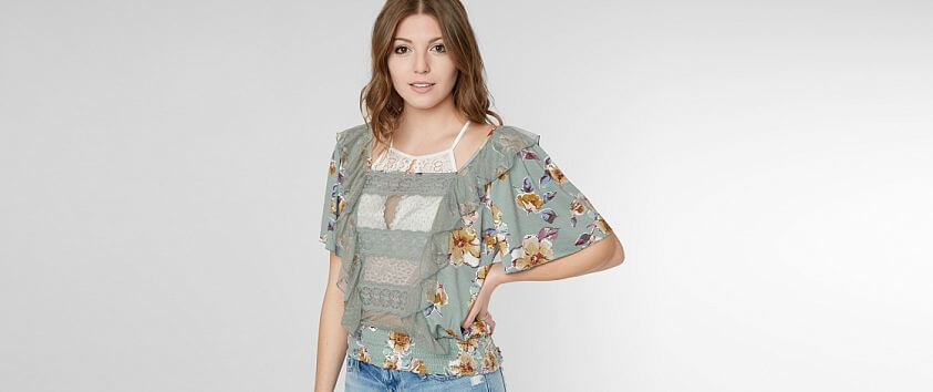 Gimmicks Floral Print Top front view