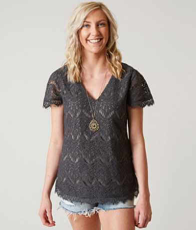 BKE Boutique Eyelash Lace Overlay Top