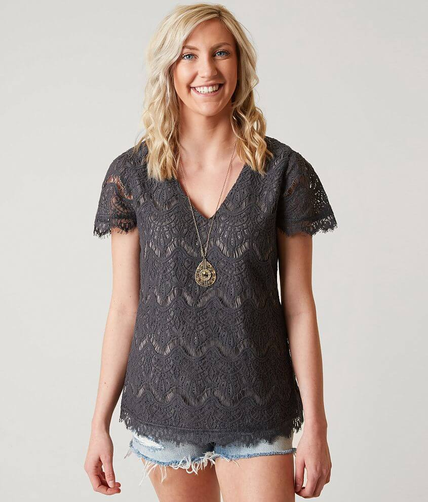 BKE Boutique Eyelash Lace Overlay Top front view