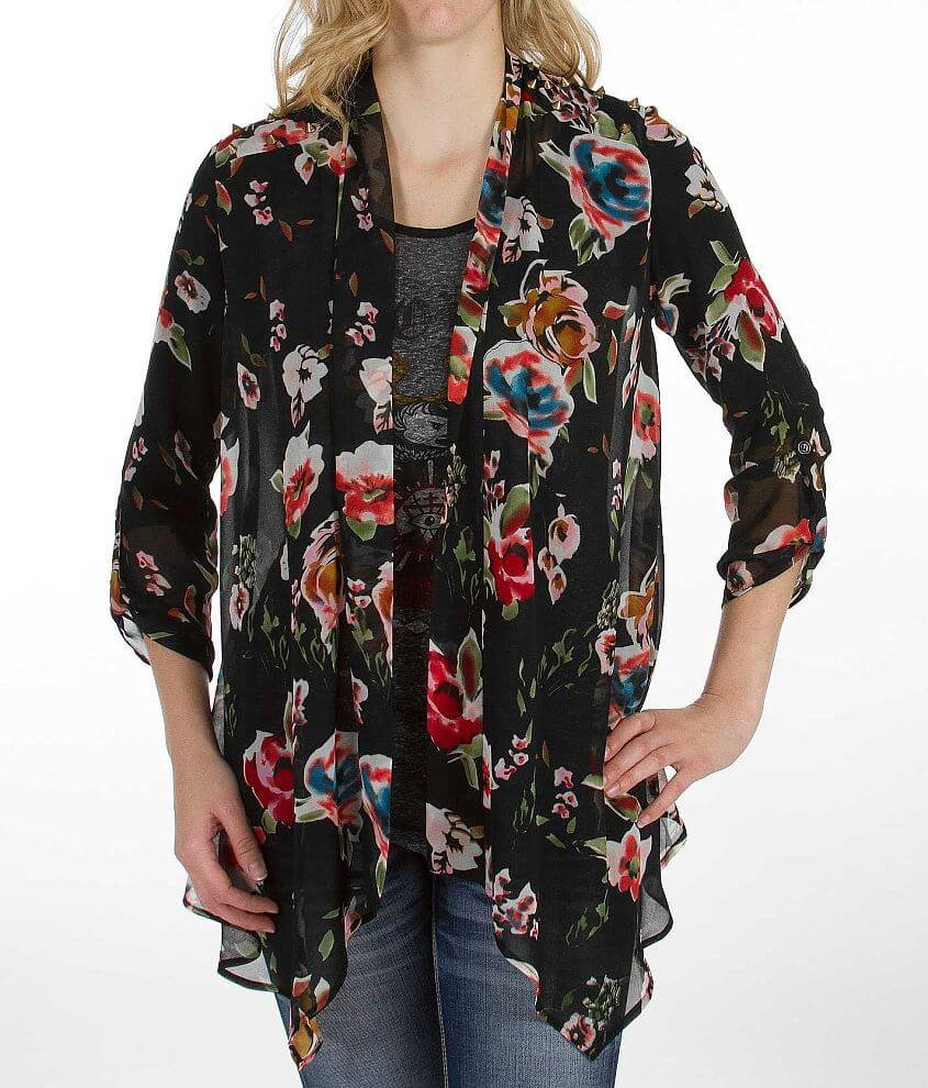 Gimmicks by BKE Floral Chiffon Cardigan front view