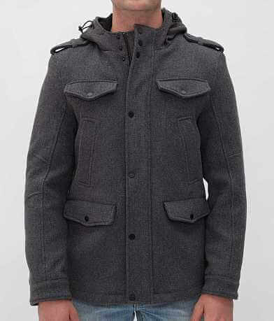 Black Rivet Hooded Coat