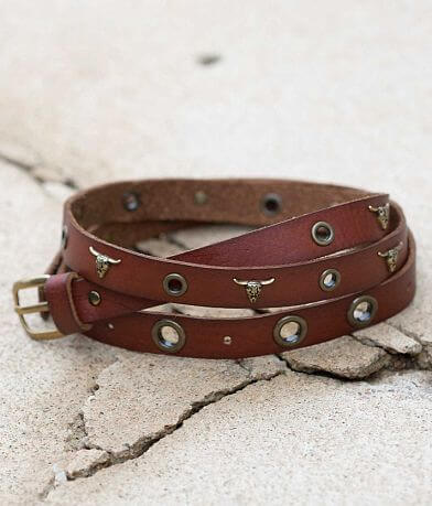 BKE Studded Skinny Leather Belt