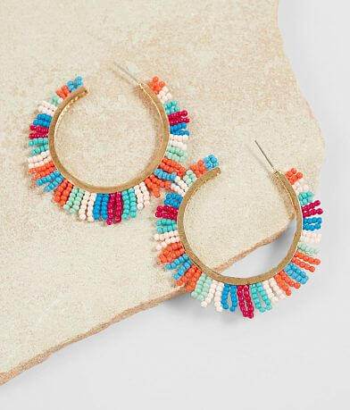 BKE Multicolored Fringe Hoop Earring