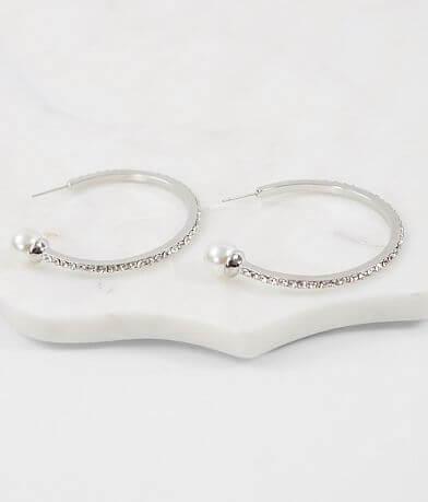 BKE Glitz Pearl Hoop Earring