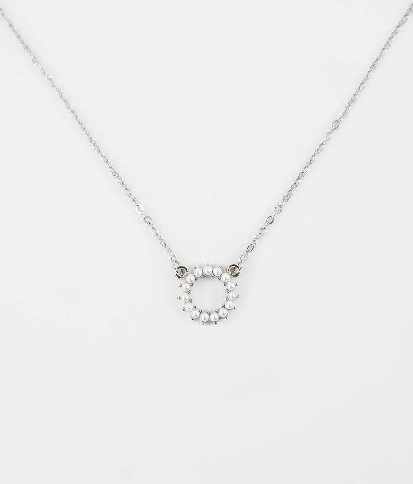 BKE Dainty Faux Pearl Necklace front view