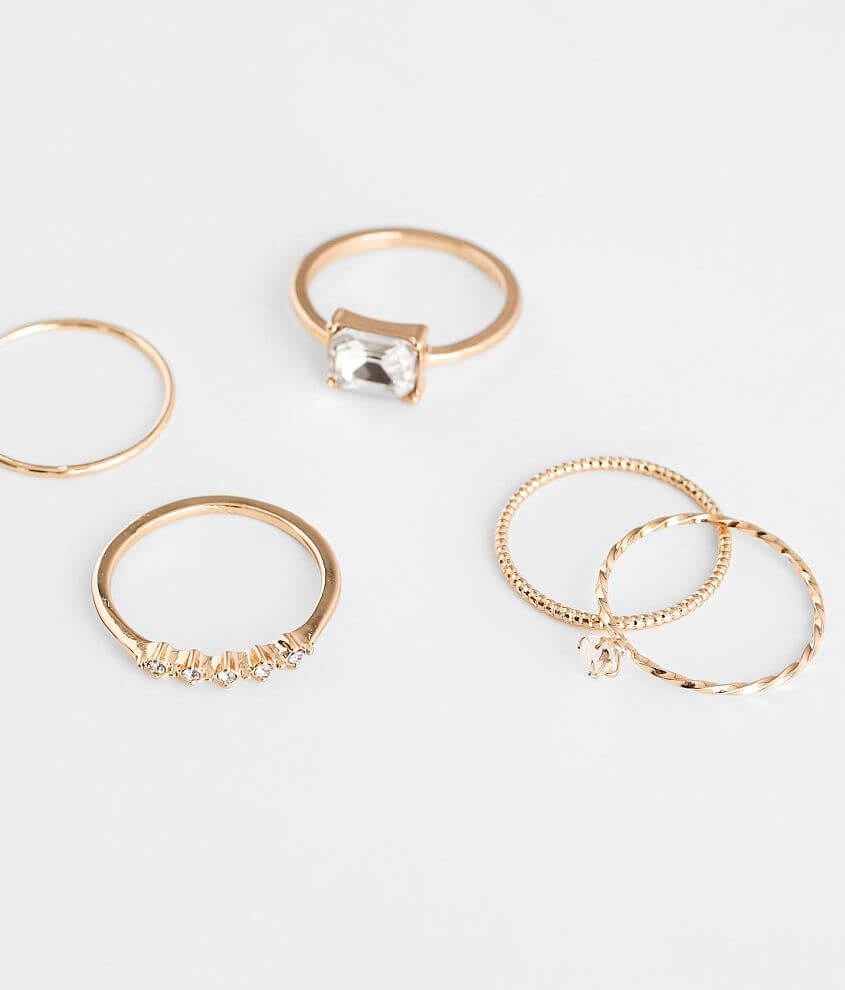 BKE 5 Pack Dainty Ring Set front view