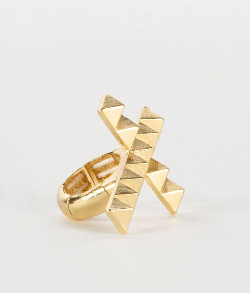 Daytrip Pyramid Cross Ring front view