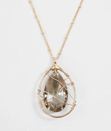 BKE Caged Stone Pendant Necklace