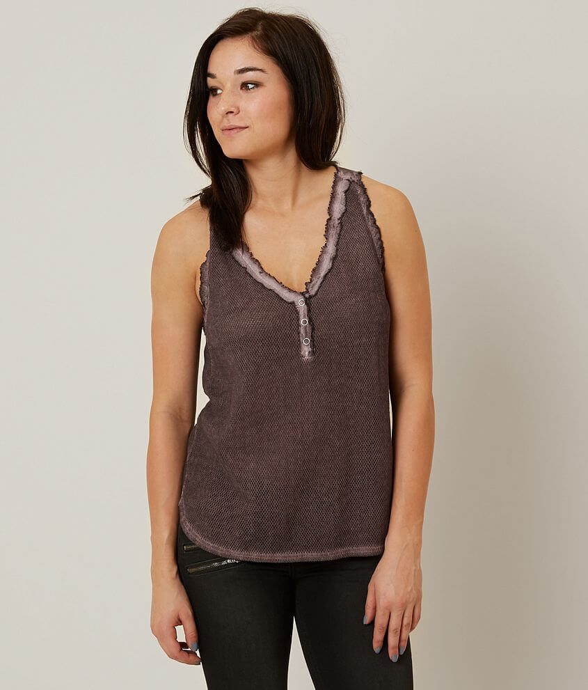 Gilded Intent Raw Edge Henley Tank Top front view