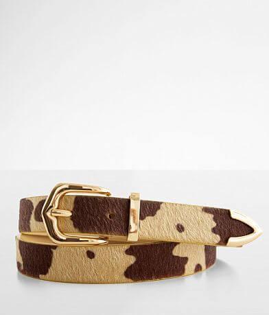 BKE Faux Fur Cowhide Print Belt