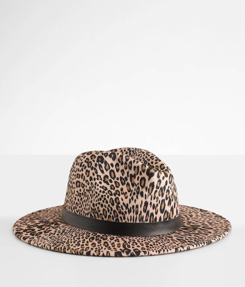 Leopard Print Panama Hat front view