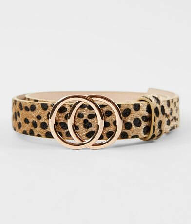 BKE Faux Fur Cheetah Print Belt