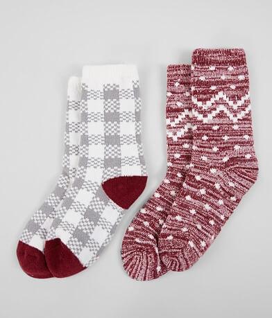 BKE 2 Pack Plush Crew Socks