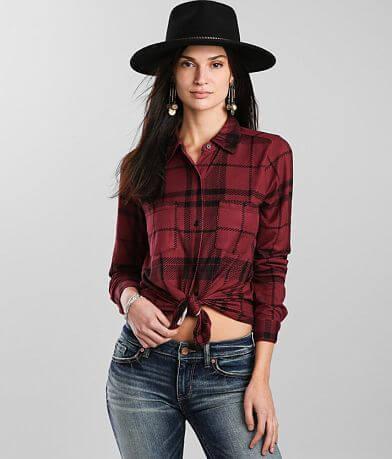 Daytrip Airbrush Knit Plaid Shirt