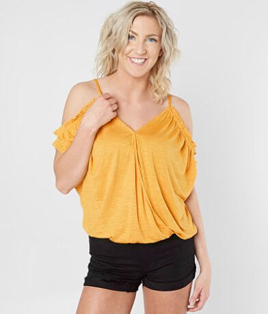 Daytrip Cold Shoulder Surplice Top