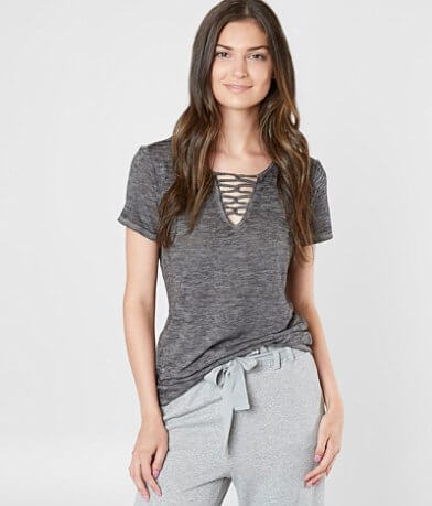 BKE Strappy Burnout T-Shirt