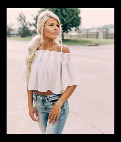 Derek Heart Cold Shoulder Cropped Top