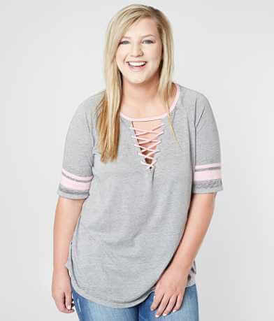 Derek Heart Burnout T-Shirt - Plus Size Only