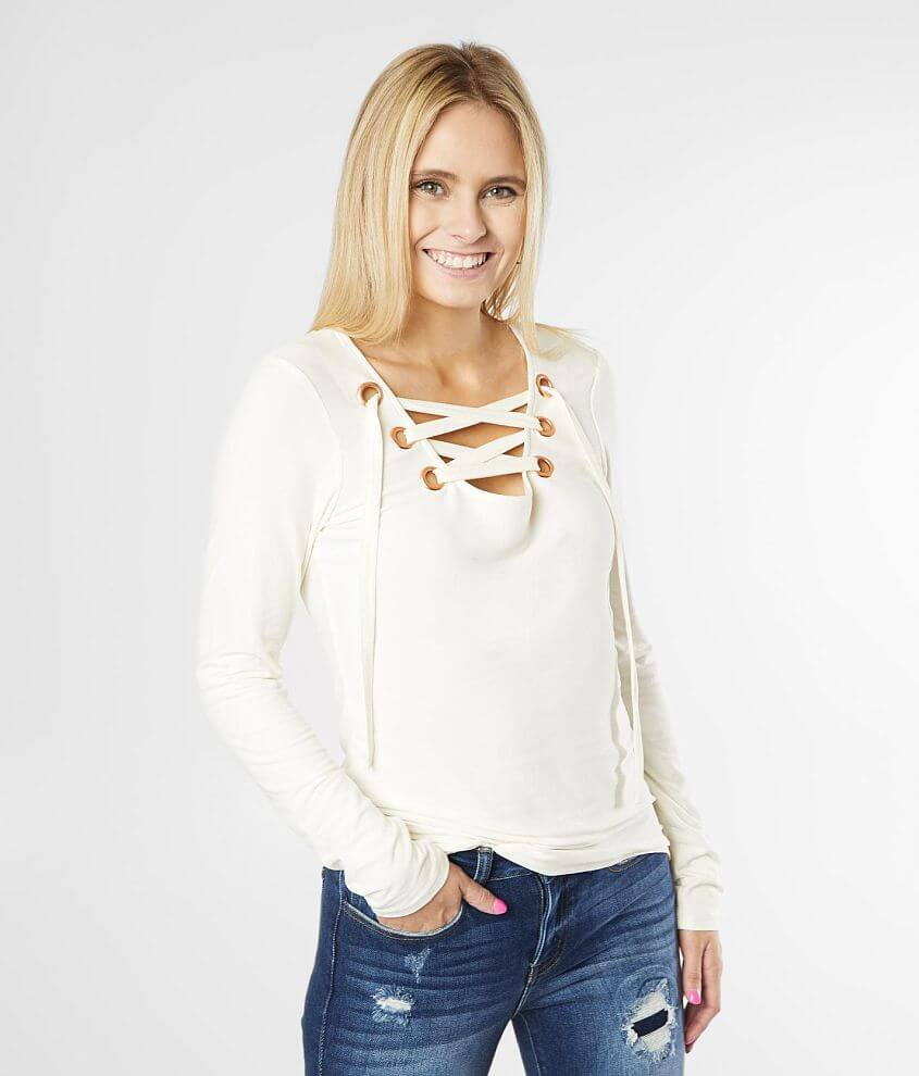 Daytrip Fitted Lace-Up Top front view