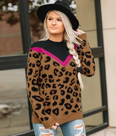 Willow & Root Animal Print High Neck Sweater