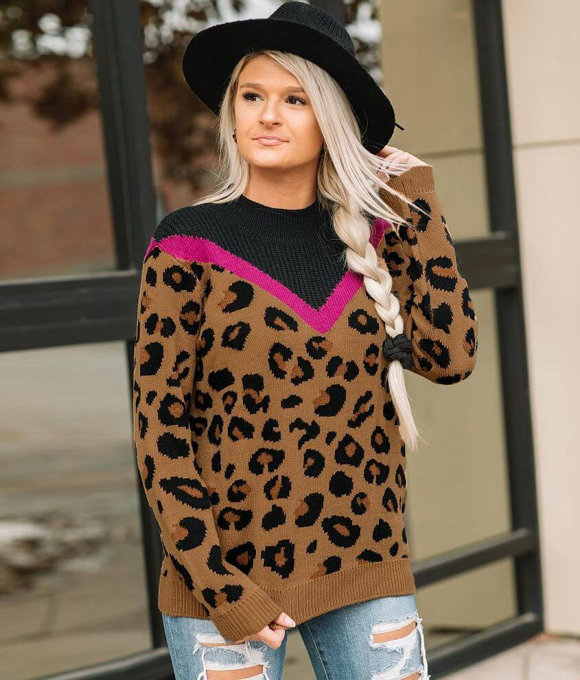Willow & Root Animal Print High Neck Sweater front view